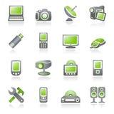 De pictogrammen van de elektronika voor Web. Grijze en groene reeks. Stock Afbeelding