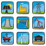 De pictogrammen van de energie Stock Afbeelding