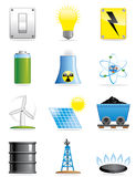 De pictogrammen van de energie Stock Foto's