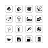 De pictogrammen van de energie - BW reeks Vector Illustratie