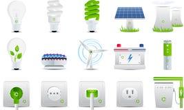 De pictogrammen van de energie en van de elektriciteit Stock Foto