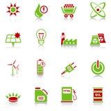 De pictogrammen van de energie - groen-rode reeks Stock Foto