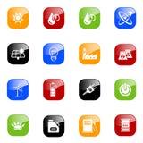 De pictogrammen van de energie - kleurenreeks Stock Foto