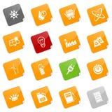 De pictogrammen van de energie - kleverige reeks Royalty-vrije Stock Foto's