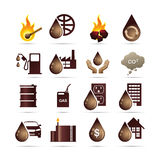 De Pictogrammen van de Energie van de olie en van de Fossiele Brandstof Stock Foto's