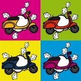 De pictogrammen van de fietsstrippagina royalty-vrije illustratie