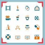 De pictogrammen van de film   In een frame reeks Royalty-vrije Stock Foto