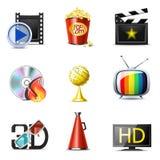 De pictogrammen van de film en van de bioskoop | De reeks van Bella Royalty-vrije Stock Fotografie