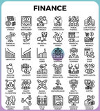 De Pictogrammen van de financiënlijn Stock Foto