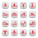 De pictogrammen van de fitness en van de sport Stock Afbeeldingen