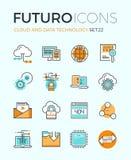 De pictogrammen van de futurolijn van de wolkentechnologie Stock Afbeeldingen