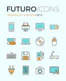 De pictogrammen van de futurolijn van technologieapparaten royalty-vrije illustratie