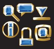 De pictogrammen van de gem met saffier en goud Royalty-vrije Stock Foto