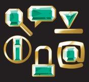 De pictogrammen van de gem met smaragd Stock Afbeeldingen