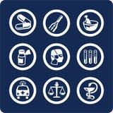 De pictogrammen van de geneeskunde en van de Gezondheid (plaats 6, deel 1) Stock Foto's