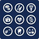 De pictogrammen van de geneeskunde en van de Gezondheid (plaats 6, deel 2) Stock Afbeeldingen