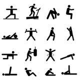 De pictogrammen van de geschiktheid en van de oefening Royalty-vrije Stock Afbeeldingen