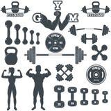 De pictogrammen van de geschiktheidsgymnastiek Stock Foto's