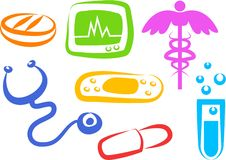 De pictogrammen van de gezondheid Stock Afbeelding
