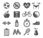 De Pictogrammen van de gezondheid en van de Geschiktheid Stock Foto