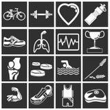De pictogrammen van de gezondheid en van de geschiktheid Stock Afbeeldingen
