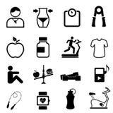 De pictogrammen van de gezondheid, van de geschiktheid en van het dieet Stock Foto's