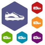 De pictogrammen van de golfschoen geplaatst hexagon stock illustratie