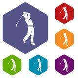 De pictogrammen van de golfspeler geplaatst hexagon vector illustratie