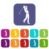 De pictogrammen van de golfspeler geplaatst vlak royalty-vrije illustratie