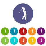 De pictogrammen van de golfspeler geplaatst vlakke vector royalty-vrije illustratie