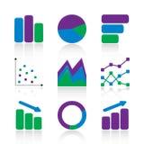 De pictogrammen van de grafiek Stock Foto's