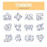 De Pictogrammen van de groepswerkkrabbel stock illustratie