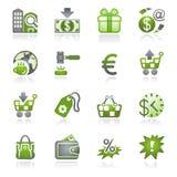 De pictogrammen van de handel. Grijze en groene reeks. Royalty-vrije Stock Afbeelding