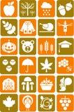 De pictogrammen van de herfst Stock Fotografie