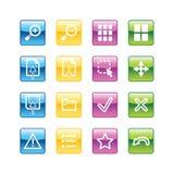 De pictogrammen van de het beeldkijker van Aqua Stock Fotografie