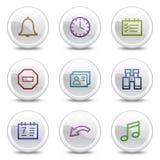 De pictogrammen van de het Webkleur van de organisator, witte cirkelknopen Royalty-vrije Stock Foto's