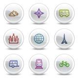 De pictogrammen van de het Webkleur van de reis plaatsen 2, cirkelknopen Stock Foto's