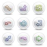 De pictogrammen van de het Webkleur van pijlen, witte cirkelknopen Stock Foto