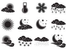 De pictogrammen van de het weerkleur van de nachtdag geplaatst zwart geïsoleerd op witte achtergrond Royalty-vrije Stock Foto's