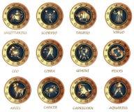 De pictogrammen van de horoscoop Stock Afbeeldingen