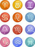 De pictogrammen van de horoscooptekens van de dierenriem Stock Fotografie