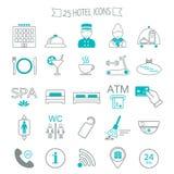 De pictogrammen van de hoteldiensten Moderne lijnpictogrammen Vlak Ontwerp Vector Stock Foto's