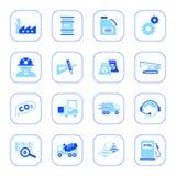 De pictogrammen van de industrie - blauwe reeks Royalty-vrije Stock Afbeelding