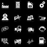 De pictogrammen van de industrie - zwarte reeks Stock Foto
