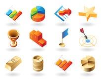 De pictogrammen van de isometrisch-stijl voor bedrijfssamenvatting Stock Foto