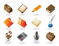 De pictogrammen van de isometrisch-stijl voor bureau Stock Afbeelding