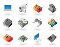 De pictogrammen van de isometrisch-stijl voor elektronika Stock Foto's