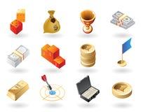 De pictogrammen van de isometrisch-stijl voor toekenning Royalty-vrije Stock Foto