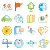 De pictogrammen van de kaartnavigatie Stock Foto's
