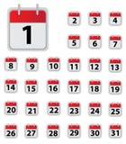 De pictogrammen van de kalender Stock Fotografie